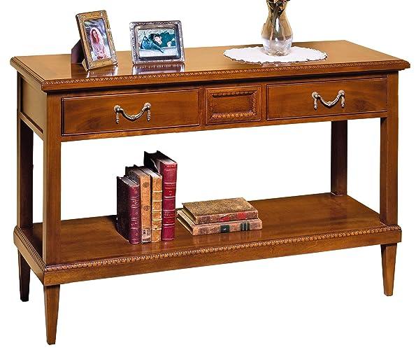 Console en noyer national massif avec 2 tiroirs, meuble de style ...
