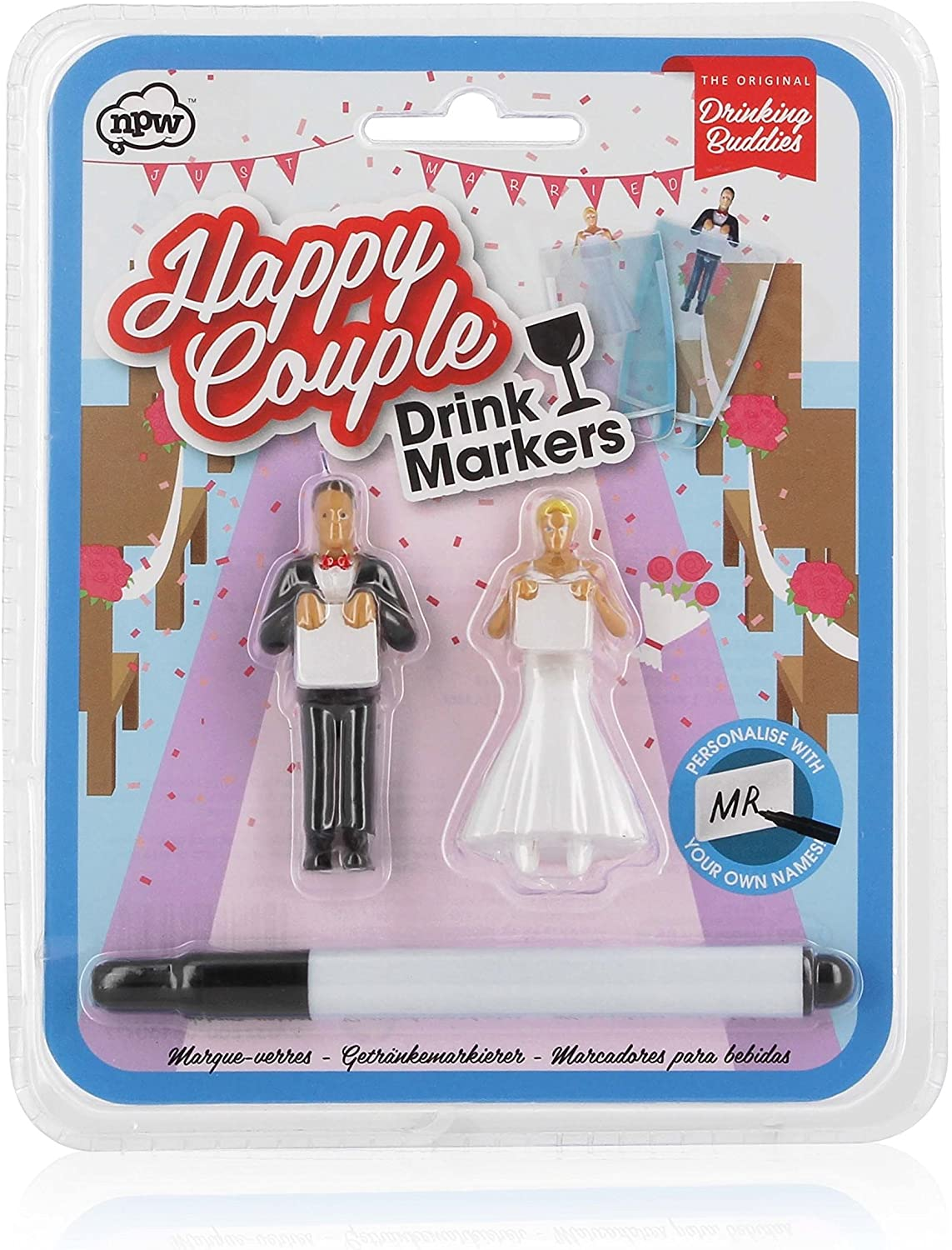 Drinking Buddies Happy Couple Themed Reuseable Glass Drink Markers, Bride & Groom