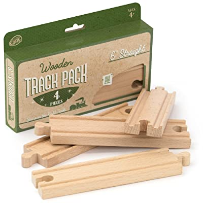 """4-piece 6"""" Straight Wooden Train Track Value Booster Pack - Compatible with All Major Toy Train Brands by Conductor Carl: Toys & Games"""