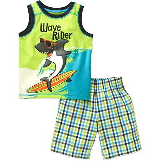 92f418626 Healthtex Baby Toddler Boys' Wave Runner Cool Shark Tank Shirt and Shorts  Outfit Set (