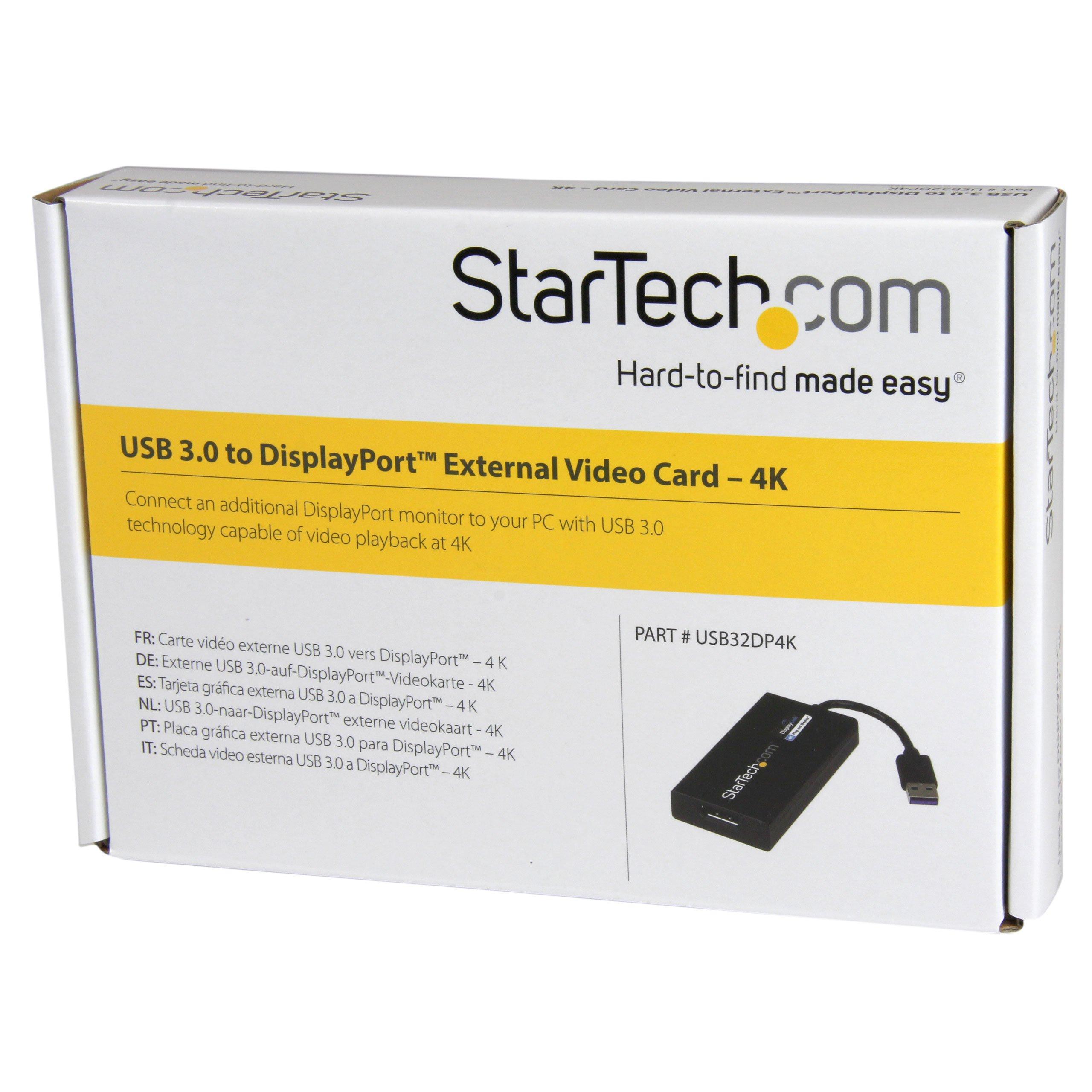USB 3.0 to 4K DisplayPort External Multi Monitor Graphics Adapter - DisplayLink Certified - USB 3.0 Video Card - Ultra HD 4K