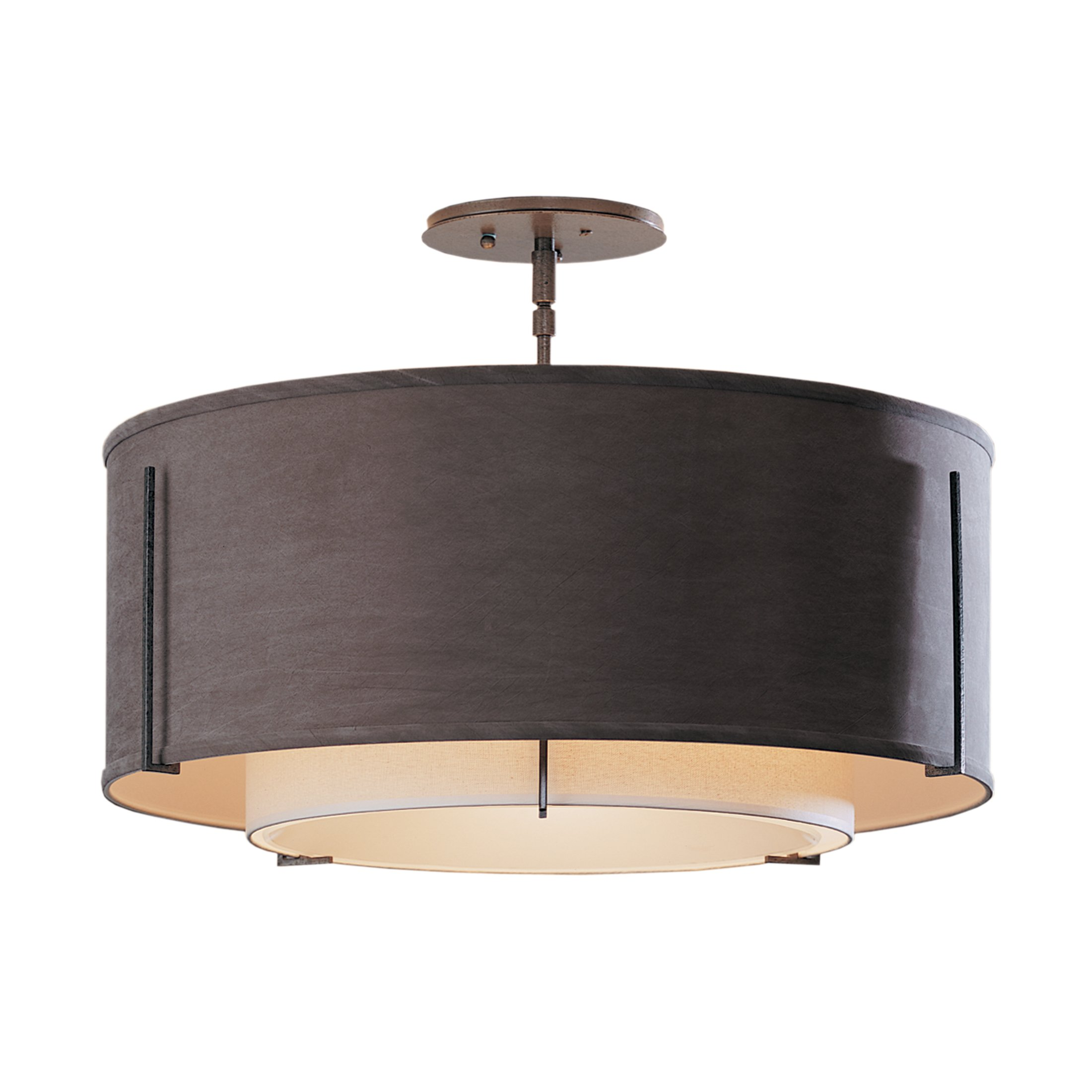 Hubbardton Forge 126503-1079 Exos Double Shade Semi-Flush, Bronze Finish, Natural Anna Inner and Eclipse Outer by Hubbardton Forge