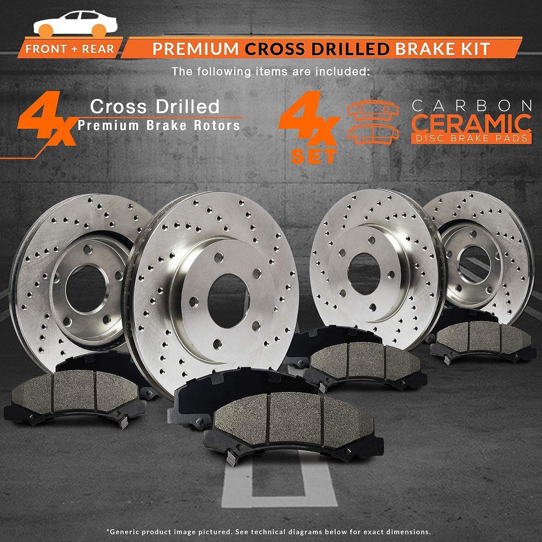 Premium Cross Drilled Rotors + Ceramic Pads KT151123 Fits: 2006 06 2007 07 2008 08 Mercedes Benz B200 Max Brakes Front /& Rear Performance Brake Kit