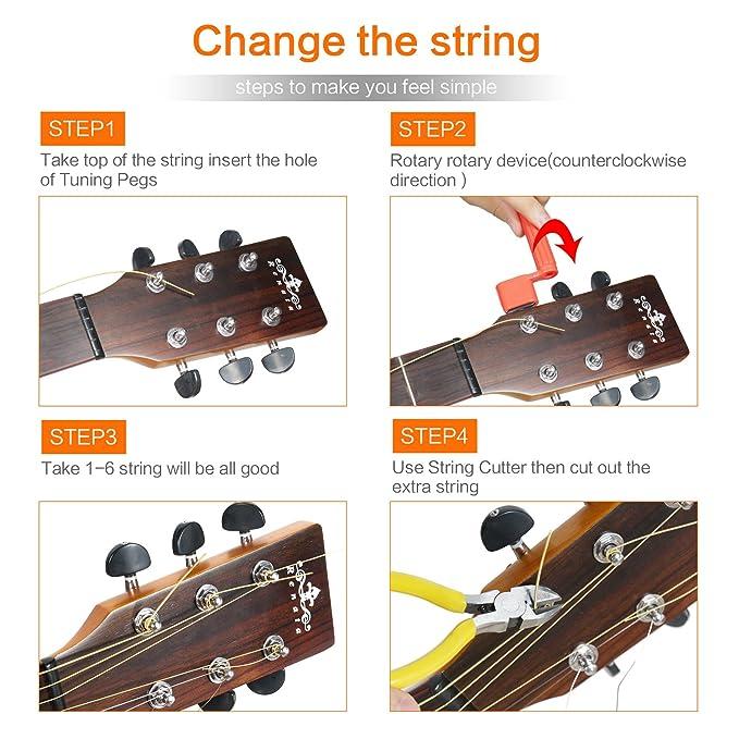 Kit para principiante con rebobinador para cuerdas de guitarra, cortador, afinador, clavijas de puente púas y recipiente para púas. Dedicado a cambiar lo ...