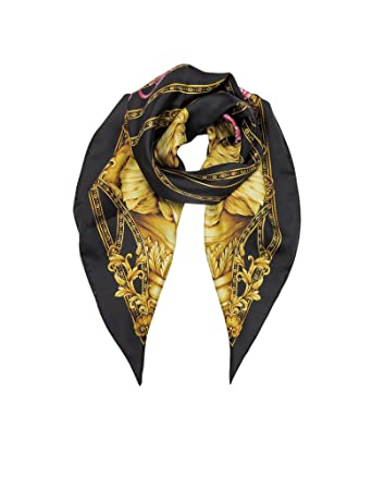 f4196c00ce0c Versace Femme IFO9001IT00040I7900 Noir Soie Foulard  Amazon.fr ...