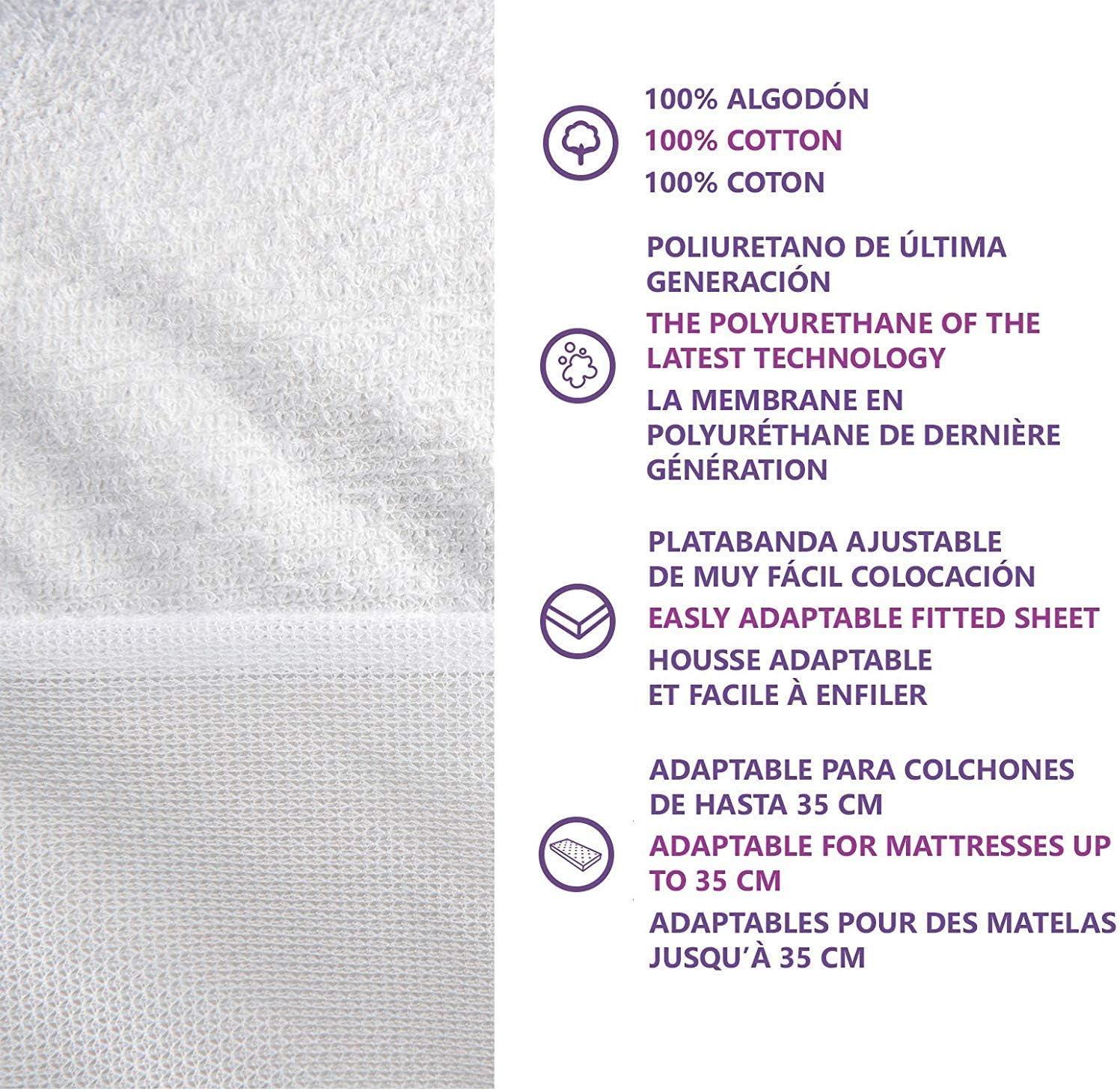 Respirant et Anti-Acariens Fabriqu/é en Europe Blanc Housse Matelas en Tissu Frais PIMPAM Factory Prot/ège Matelas Coton Imperm/éable 60x120 cm Al/èse pour Lit Drap Housse