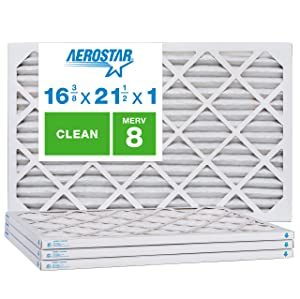 Aerostar Clean House 16 3/8x21 1/2x1 MERV 8 Pleated Air Filter, Made in The USA, 4-Pack, White
