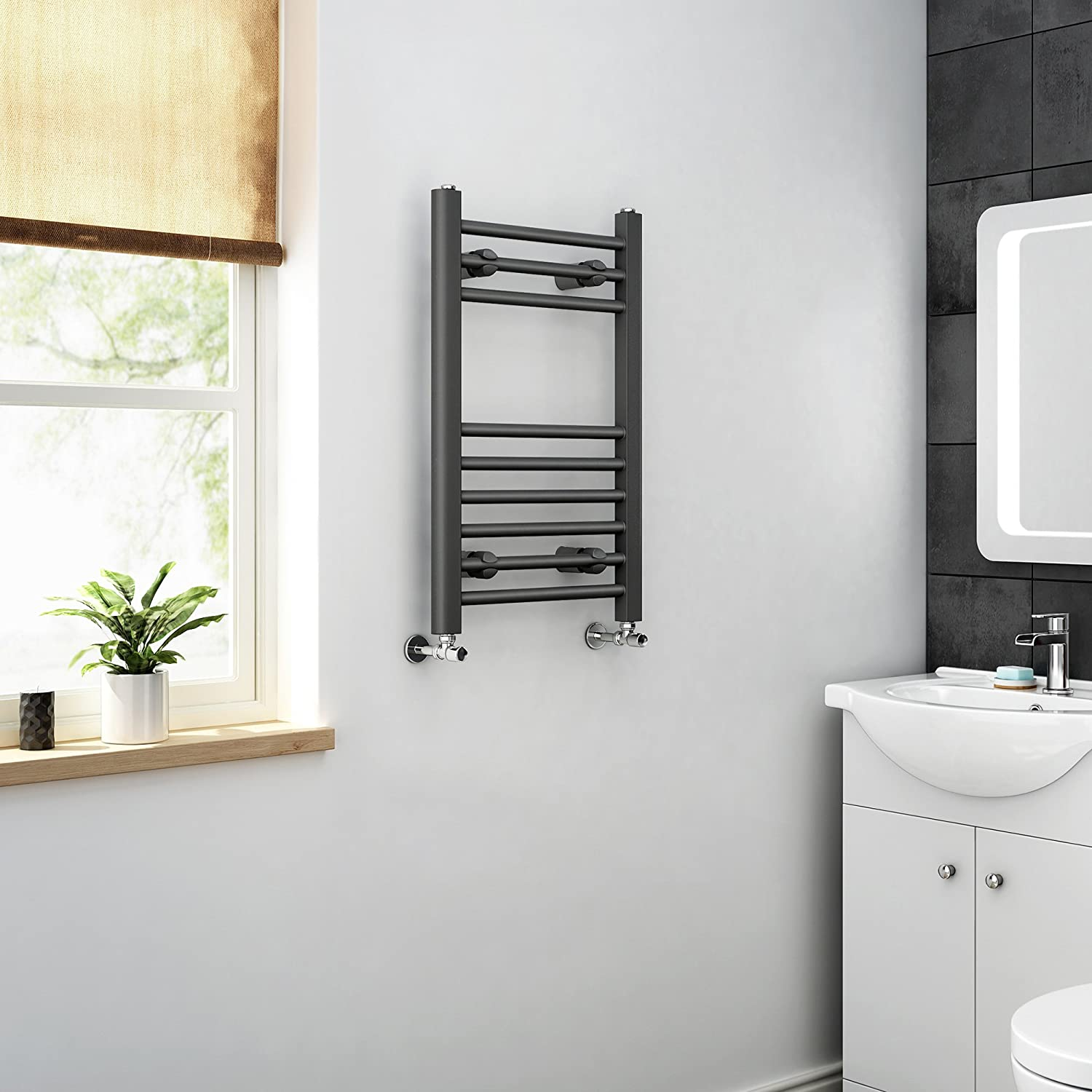 Natasha ladder rail straight modern electric towel radiator in chrome - Ibathuk 650 X 400 Anthracite Straight Heated Towel Rail Bathroom Radiator All Sizes Ibathuk Amazon Co Uk Kitchen Home