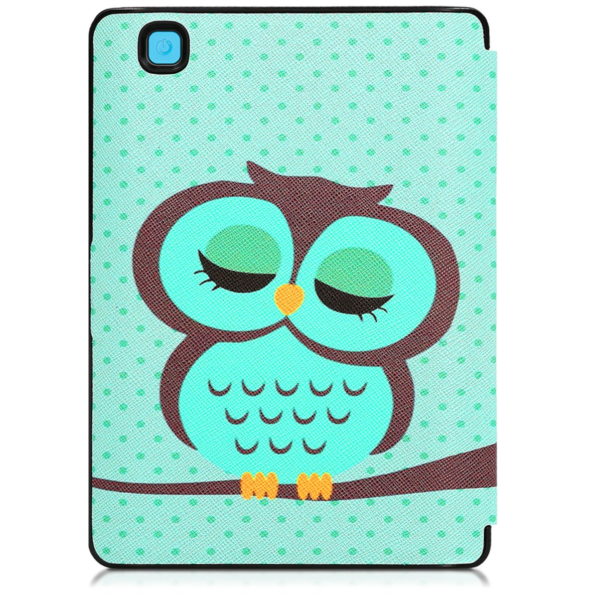 kwmobile Cover case for Kobo Aura Edition 2 with stand - Ultra slim case made of synthetic leather Sleeping Owl in turquoise brown mint by kwmobile (Image #4)