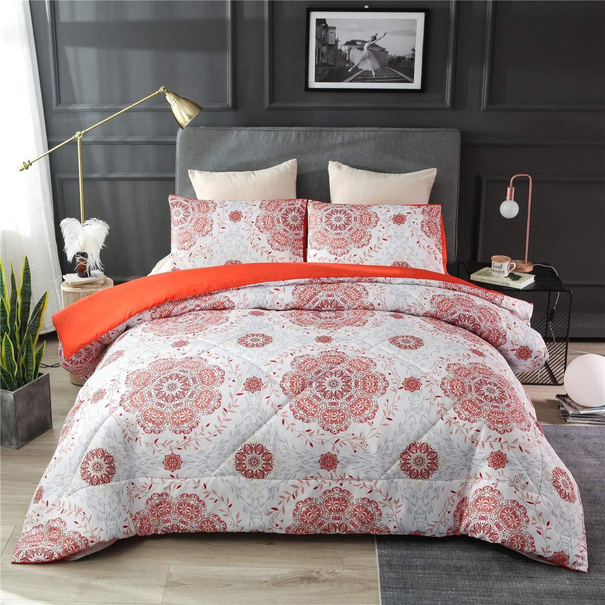 NTBED Bohemian Comforter Sets Queen Floral Medallion Printed Lightweight Boho Chic Mandala Bedding Quilt Sets Orange