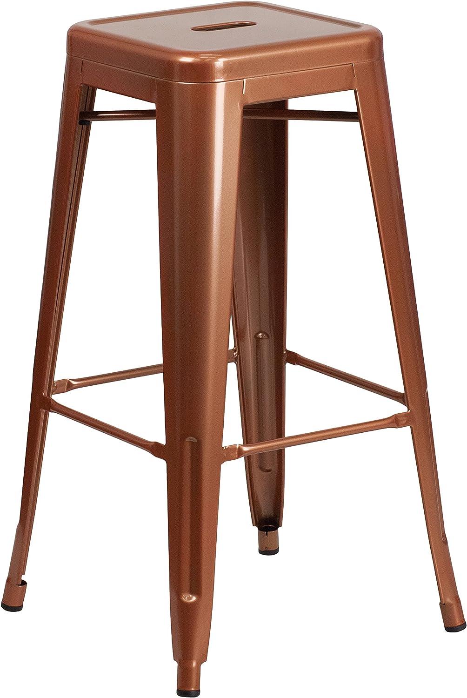 Flash Furniture Commercial Grade 30 High Backless Copper Indoor Outdoor Barstool Furniture Decor