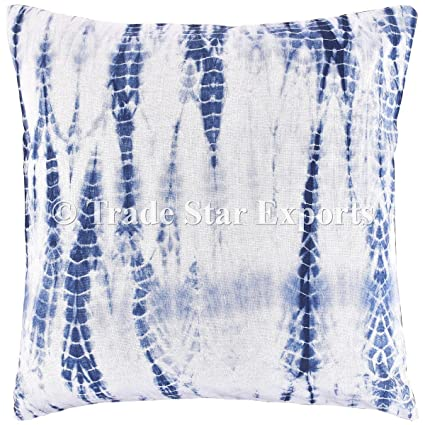 Amazon Com Indigo Dyed Cushion Cover Shibori Pillowcase Tie Dye