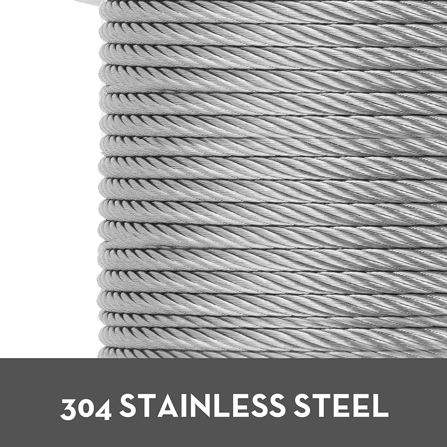 Mophorn 304 Stainless Steel Cable 1//4 Inch 7 X 19 Steel Wire Rope 200Feet Steel Cable for Railing Decking DIY Balustrade 1//4 Inch-200Feet