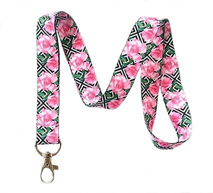 amazon com pink rose floral print lanyard key chain id badge