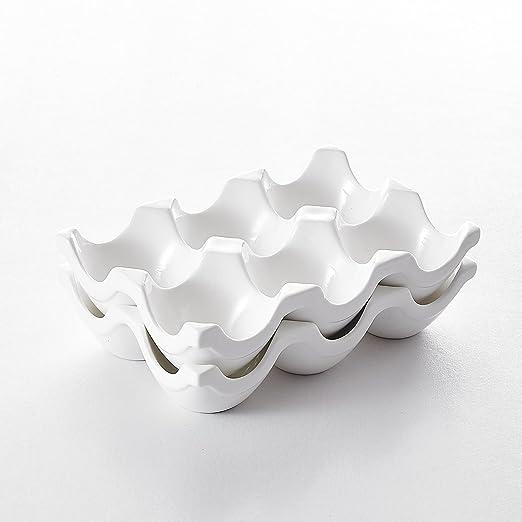 MALACASA Serie Regular, 2pcs Cesta de Huevos (cerámica Porcelana ...
