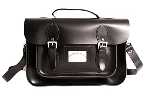 15\' Black Satchel with Handle Real Leather
