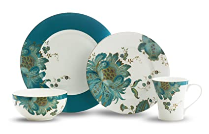 222 Fifth Eliza 16-Piece Dinnerware Set Teal  sc 1 st  Amazon.com & Amazon.com | 222 Fifth Eliza 16-Piece Dinnerware Set Teal ...