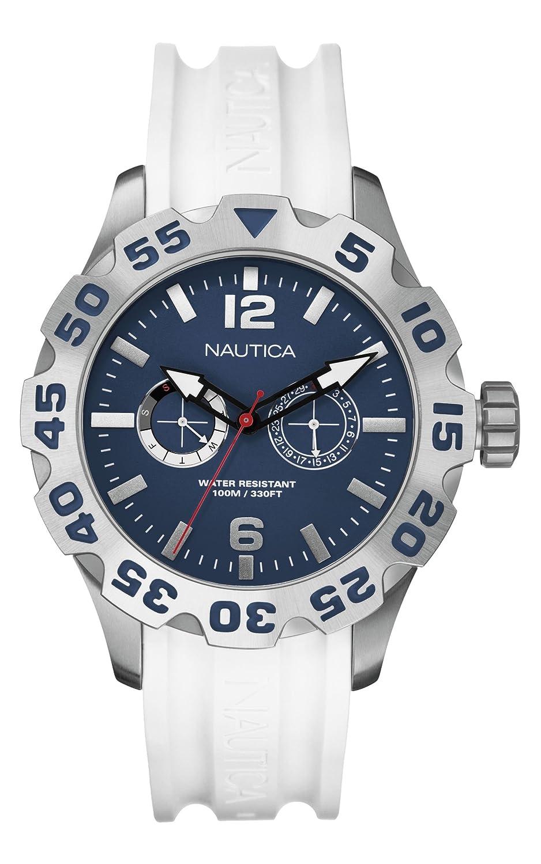 Quartz Cadran Silicone Nautica Bleu Bracelet Montre Analogique Blanc Homme A16616g j4R3AL5