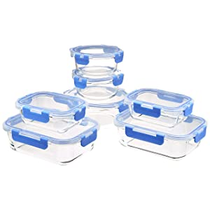 Amazon Basics Glass Locking Lids Food Storage, 14-Piece Set, 7 Containers and 7 BPA-Free Lids