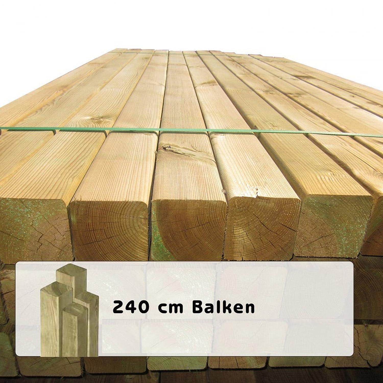 10 Stück Holzpfosten 9x9 cm Länge 240 cm Kantholz Pfosten mit Kopf
