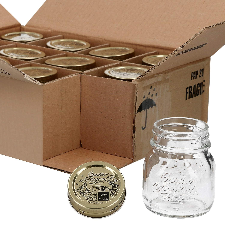 Bormioli tarros Quattro Stagioni 12 piezas | cantidad de relleno 150 ml, diámetro 6,8 cm | Altura Total 8,8 cm | perfecto para aperitivos & Co: Amazon.es: ...