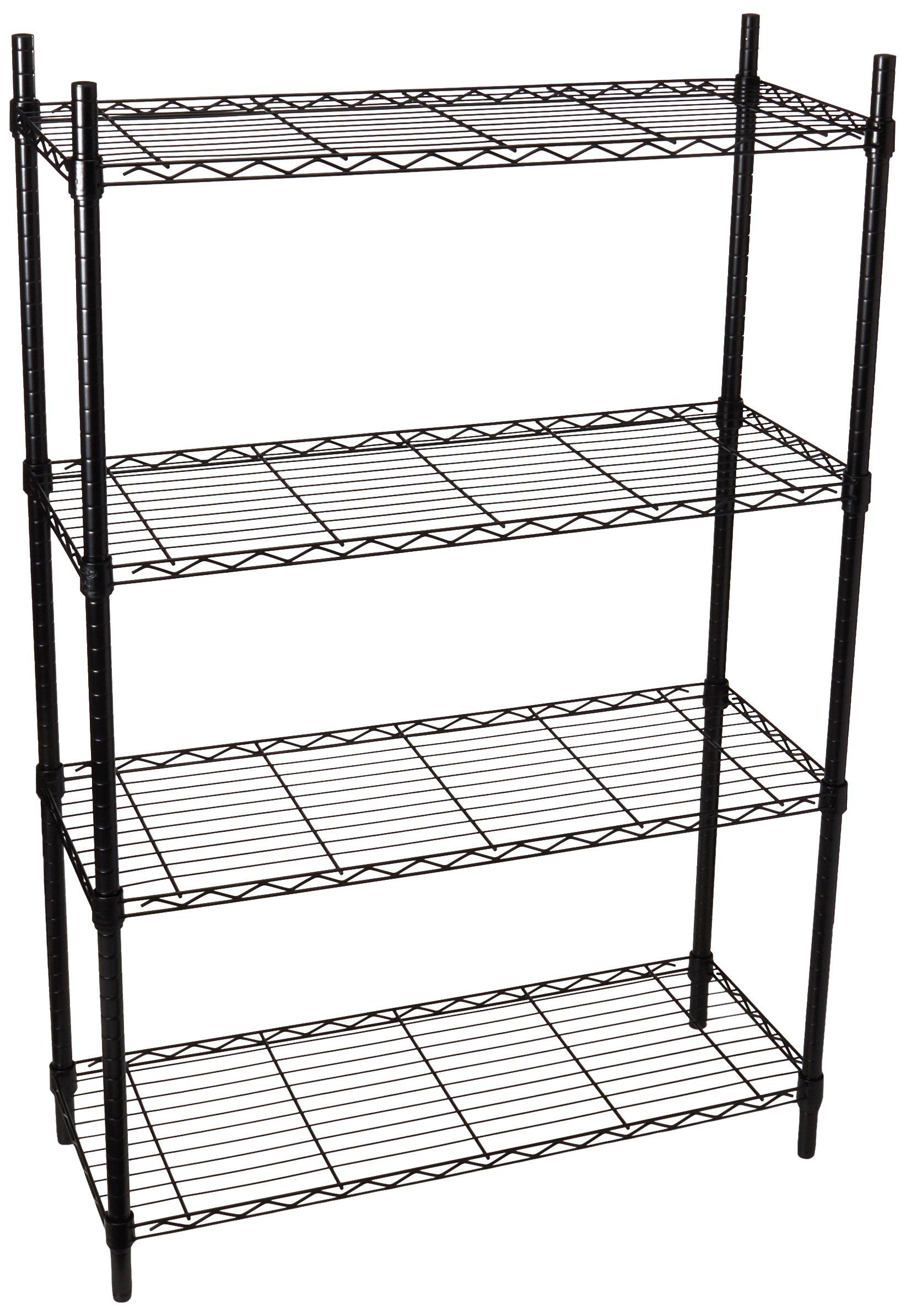 Honey-Can-Do SHF-01908 Adjustable Storage Shelving Unit, 250-Pounds Per Shelf, Black, 4-Tier, 36Lx14Wx54H by Honey-Can-Do