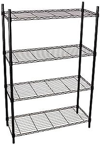 Honey-Can-Do SHF-01908 Adjustable Storage Shelving Unit, 250-Pounds Per Shelf, Black, 4-Tier, 36Lx14Wx54H