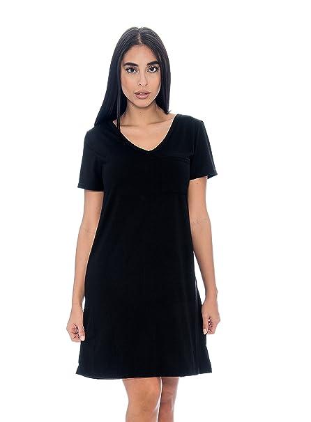 29a2ec5732 Unique Styles Women s Nightshirt V-Neck T-Shirt Front Chest Pocket Flowy  Swing Dress