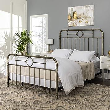 We Furniture Vintage Metal Iron Pipe Queen Size Bed Headboard Bedroom Bronze Gold