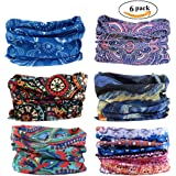 FAYBOX 6pcs Magic Wide Wicking Headbands For Men and Women Outdoor Headwear Bandana Sports Scarf Tube UV Face Mask for Workout Yoga Running