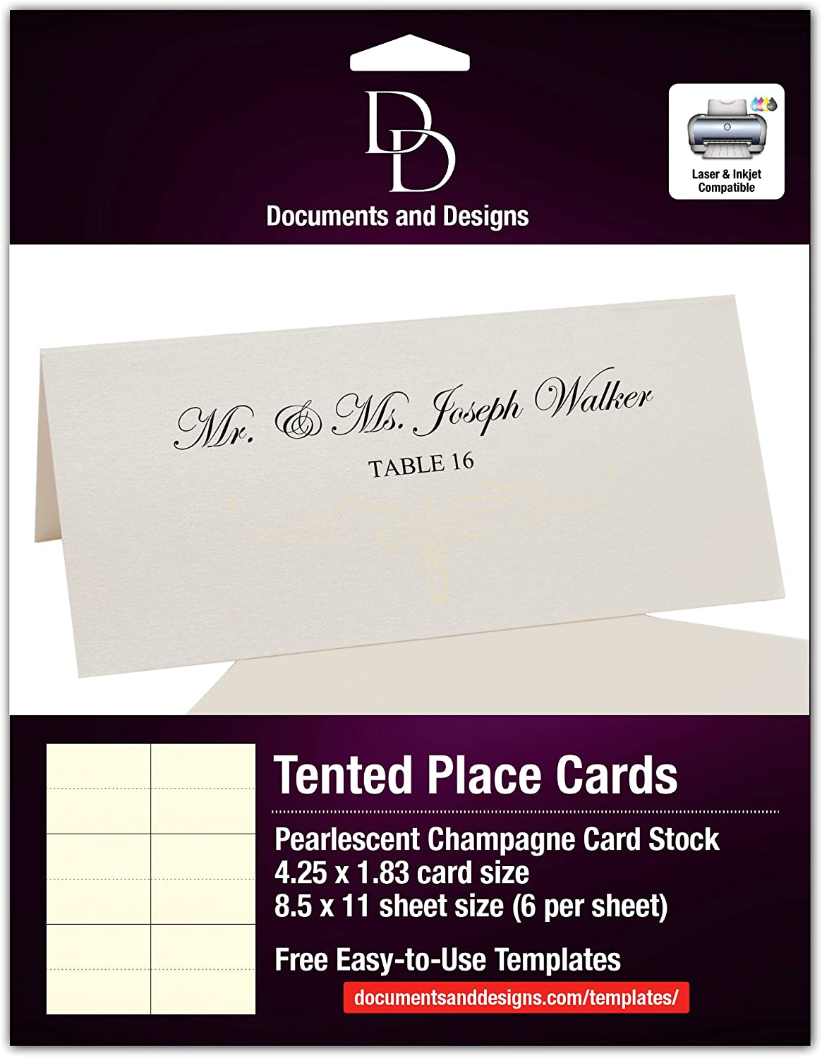 Decadent Flourish Easy Print Place Cards, Champagne, Ivory, Set of For Free Template For Place Cards 6 Per Sheet