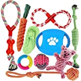 FONPOO Indestructible Dog Toys for Aggressive Chewers 100% Safe Best Small Medium Dogs 10 Pack Include Rope Ball Dog Birthday Gifts