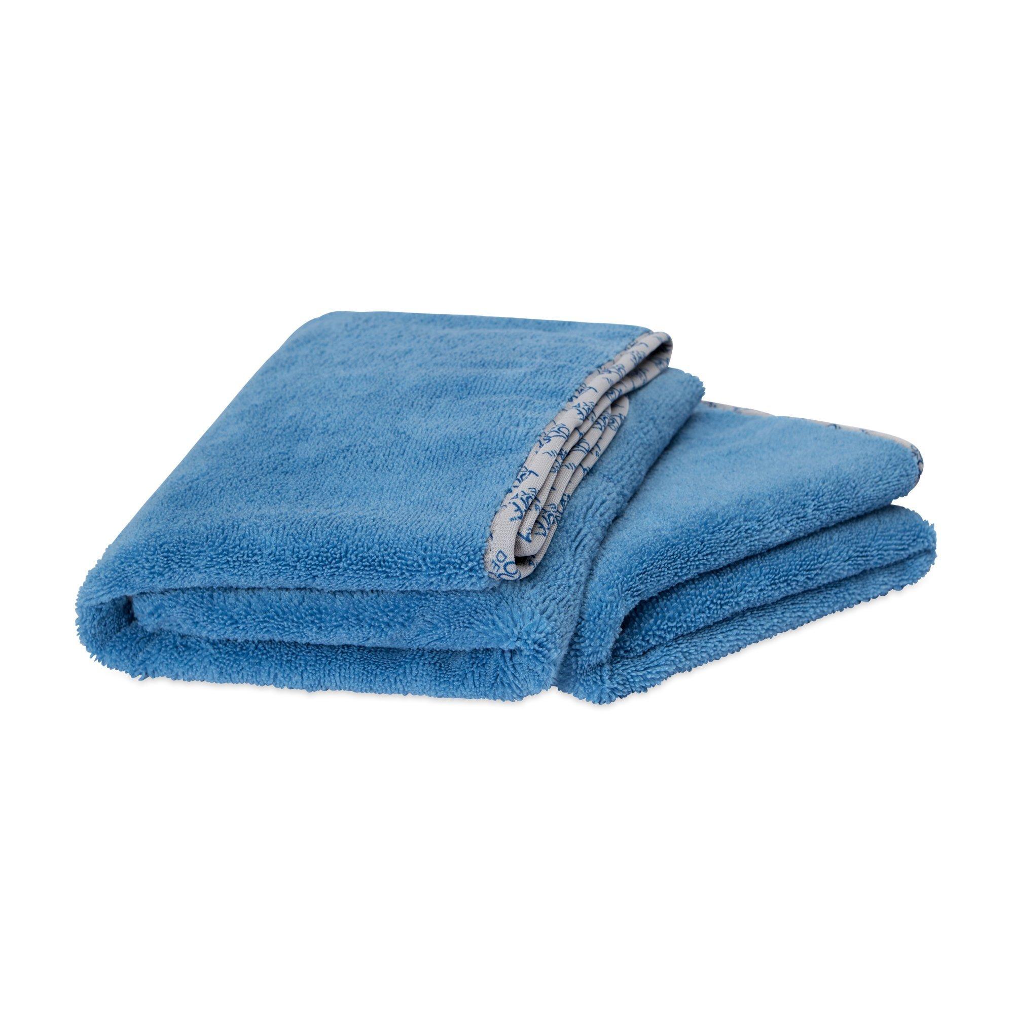 Buff Detail Microfiber Car Towels | 400 GSM | 80/20 Blend | Tagless | Soft Satin Piped Edges | All-Purpose Auto Detailing - Wax, Buff, Polish, Wash, Dry | 24''x 36'' | 2 Pack (Blue)