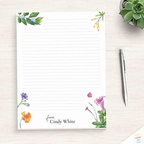 Colorful Summer Flower Art Personalized Notepad Vibrant Notepad Notepad For Her Floral Notepad Handmade