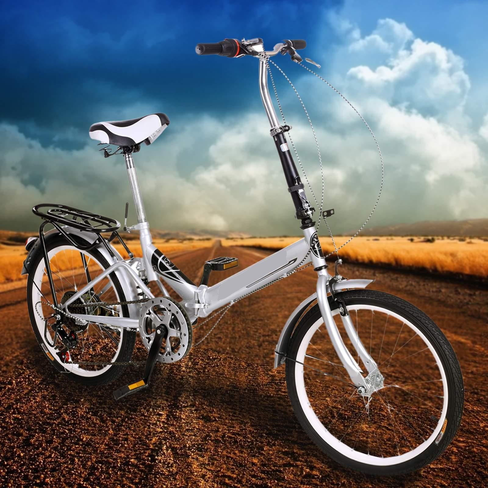 Utheing 20inch Wheel Folding Bike 6 Speed Mountain Bicycle Cycling Steel Frame Double Disk, Silver by Utheing (Image #2)