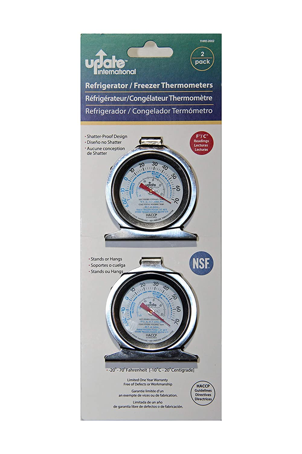 Refirgerator/Freezer Thermometers 2-Pack