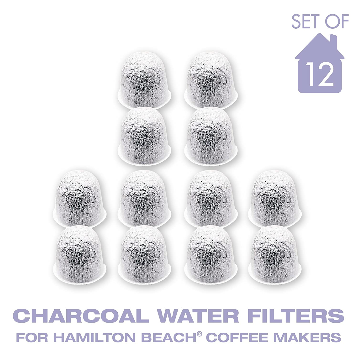 Charcoal Water Coffee Filter Cartridges, Replaces Hamilton Beach Water Coffee Filters- Set of 12