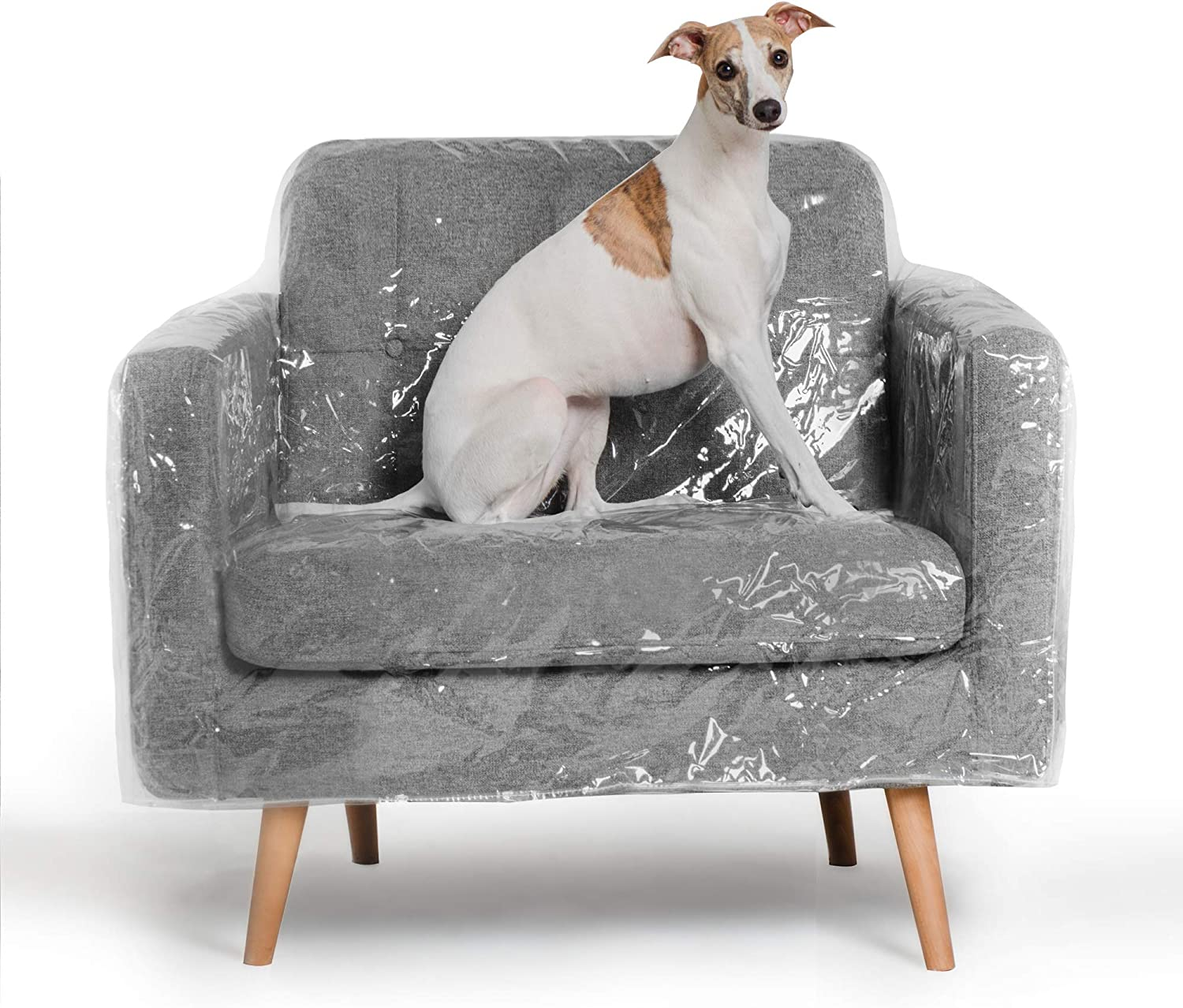 Better Than Plastic Slipcover, Vinyl Armchair Protector - 36' Waterproof Pet Furniture Covers for Cats & Dogs - Scratch & Stain - Clear Leather Armchair Protective Slip Bag (36 W x 40 D 42 BH x 25 FH)