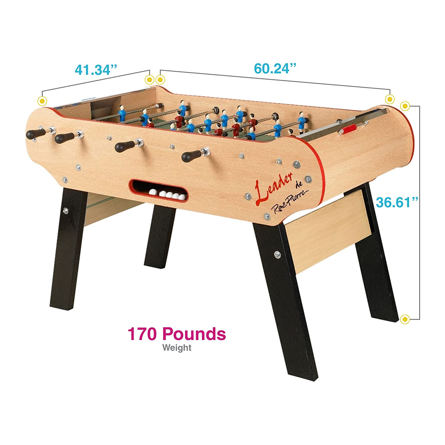 ada99917c2b645 Amazon.com  René Pierre Foosball Table - Leader. Designed with Safety  Telescoping Rods with Ergonomic Handles and Single Goalies.  Toys   Games
