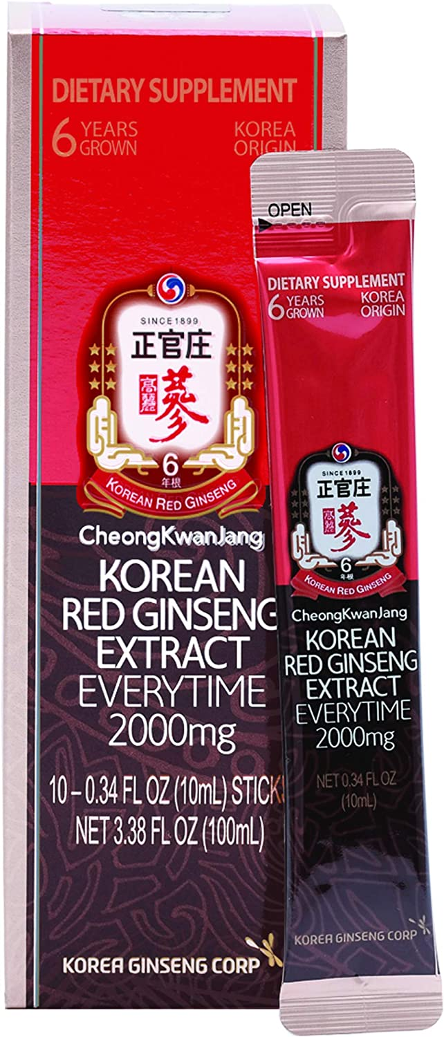 KGC Cheong Kwan Jang – Everytime 2000 Milligrams – Korean Panax Red Ginseng Extract Portable Sticks for Healthy Immune Support and Energy Levels – 10 Stick Packs