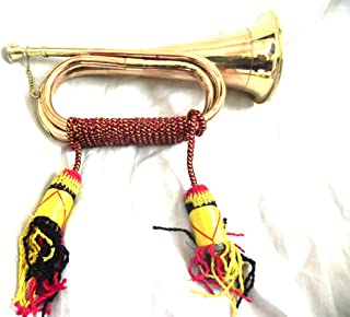 US BRITISH ARMY BUGLE TRUMPET WITH ROPE