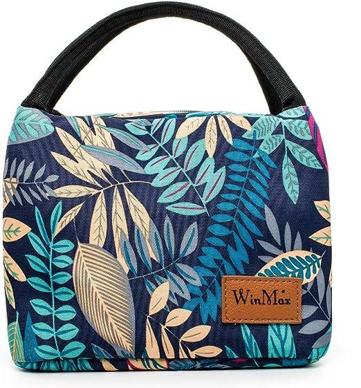 almuerzos lonchera bolsa de almuerzo para acampar o viajar Leaves Pattern ni/ños lonchera mujeres bolsas de picnic hombres Bolsa de almuerzo aislada Winmax para adultos