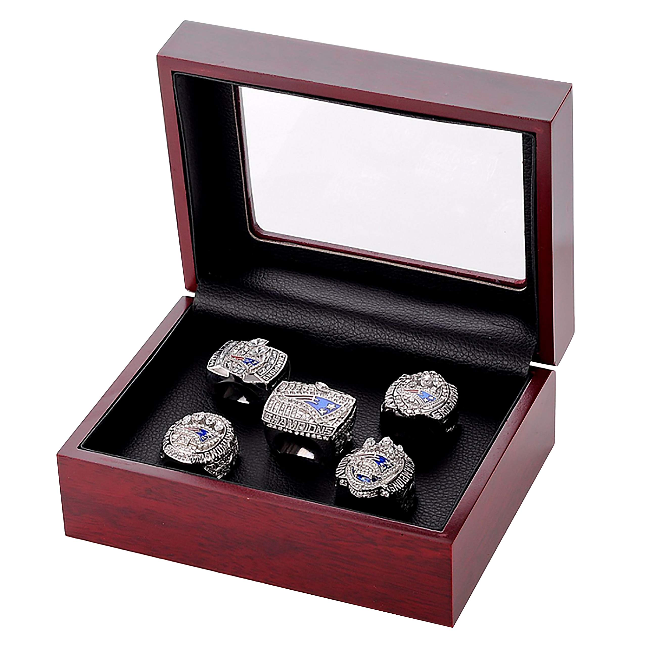 GF-sports store Set of 5 New England Patriots Championship Replica Ring Display Box Set- Fashion Gorgeous Collectible Jewelry