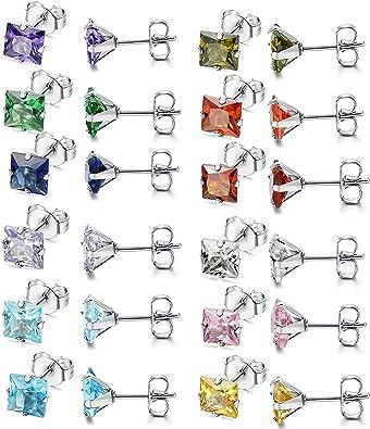 Flongo Pendientes pequeños coloridos 5mm pendientes para niñas ...