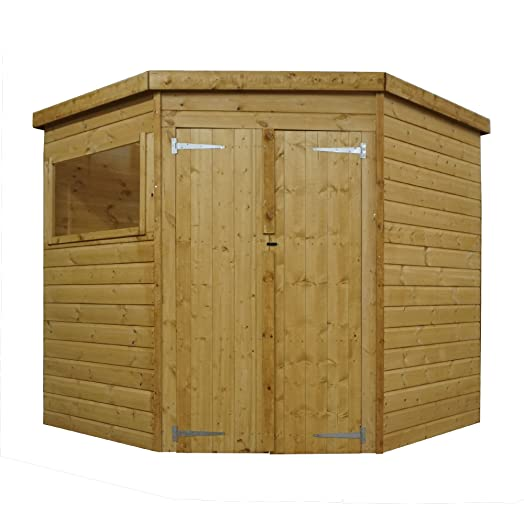 7x7 shiplap wooden corner garden shed double doors includes felt by waltons - Corner Garden Sheds 7x7