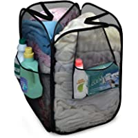 Smart Design Pop-Up Laundry Hamper w/ Divider, Zipper, & Portable Handles - Durable Mesh Fabric - Collapsible Design…