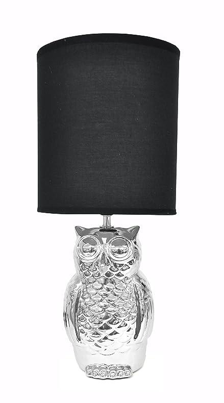 Urban Shop AK639644 Owl Lamp, Metallic