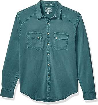 Lucky Brand Men's Tencel Martin Button Up Western Shirt, sea Pine