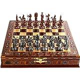 Juego de ajedrez de cobre antiguo egipcio para adultos, piezas hechas a mano y tablero de ajedrez de madera maciza…