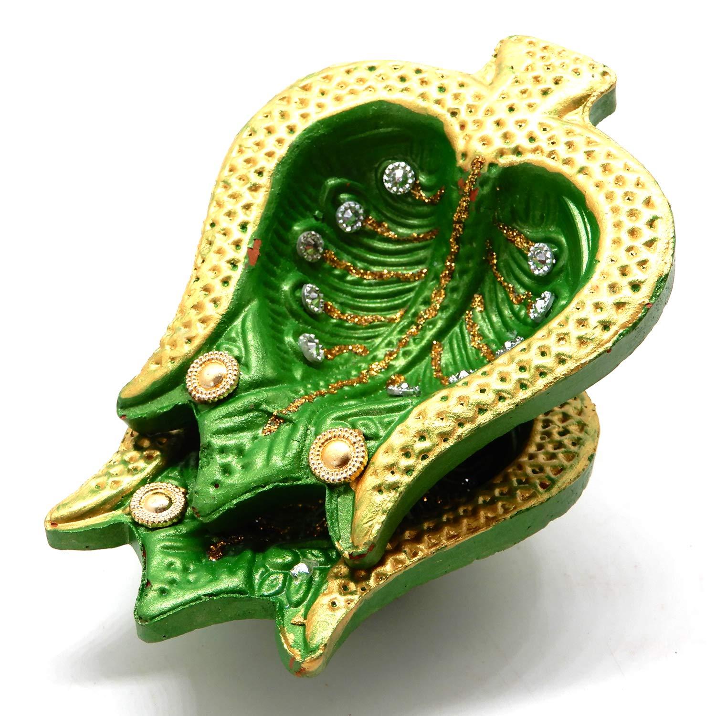 Bignay Stein Design Diyas f/ür Diwali Dekorative handgemachte Terrakotta Ton Diwali Diya mit Baumwolle Dochte /Öl Lampen Set von 4